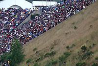 Jul. 18, 2014; Morrison, CO, USA; NHRA fans in the grandstands during qualifying for the Mile High Nationals at Bandimere Speedway. Mandatory Credit: Mark J. Rebilas-
