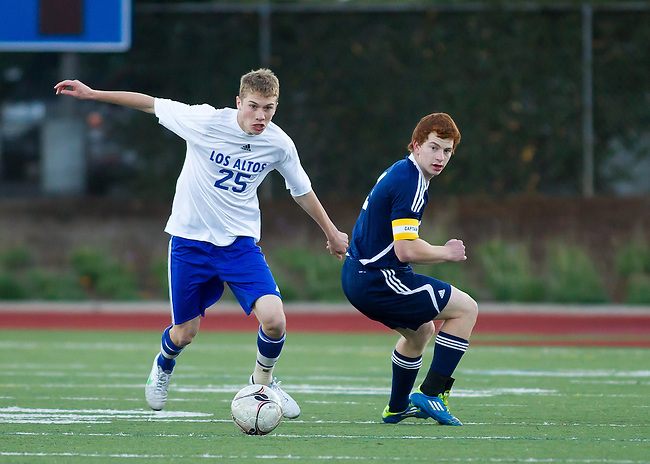 Menlo High School at Los Altos High, Boys Varsity Soccer, December 12, 2012. Menlo wins 3-0.
