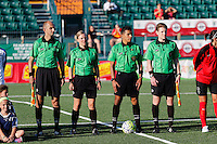 Rochester, NY - Friday June 24, 2016: Game Officials prior to a regular season National Women's Soccer League (NWSL) match between the Western New York Flash and the Boston Breakers at Rochester Rhinos Stadium.
