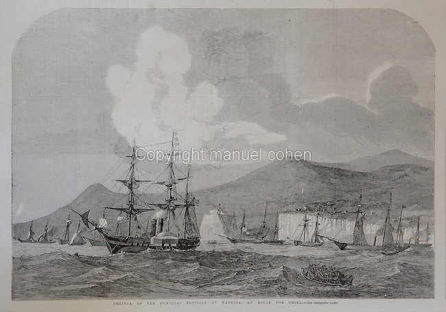 Arrival of the Royal Navy gun-boat flotilla at Madeira, en route for China during the Opium Wars, 17th May, 1857, from the Illustrated London News, 20th June 1857, wood engraving. The Second Opium War, 1856-60, was fought by the British Empire and the Second French Empire against the Qing dynasty of China. Copyright © Collection Particuliere Tropmi / Manuel Cohen
