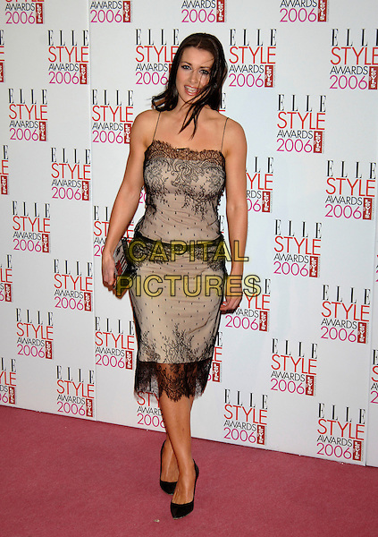 KIRSTY GALLACHER.Elle Style Awards at The Old Truman Brewery, Brick Lane, London, UK.February 20th, 2006.Ref: PL.full length black dress beige lace Kristy Gallagher.www.capitalpictures.com.sales@capitalpictures.com.©Capital Pictures