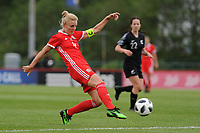 Sophie Ingle of Wales Women's' has a shot during the Women's International Friendly match between Wales and New Zealand at the Cardiff International Sports Stadium in Cardiff, Wales, UK. Tuesday 04 June, 2019