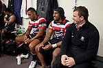 Steelers Samisoni Fisilau, Ahsee Tuala and Mark Selwyn enjoy the victory back in the changing room. ITM Cup Round 1 game between the Counties Manukau Steelers and Otago, played at Bayer Growers Stadium, Pukekohe, on Saturday July 31st 2010. Counties Manukau Steelers won 29 - 13 after leading 22 - 6 at halftime.