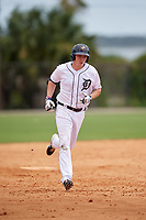 Detroit Tigers Bryant Packard (40) runs the bases after hitting a home run during an Instructional League game against the Philadelphia Phillies on September 19, 2019 at Tigertown in Lakeland, Florida.  (Mike Janes/Four Seam Images)