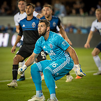 SAN JOSE, CA - AUGUST 25: Maxime Crépeau #16 of the Vancouver Whitecaps during a game between Vancouver Whitecaps FC and San Jose Earthquakes at Avaya Stadium on August 24, 2019 in San Jose, California.
