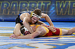 BROOKINGS, SD - NOVEMBER 4:  Seth Gross from South Dakota State controls the arm of Nathan Boston from Iowa State in their 133 pound match Friday evening at Frost Arena in Brookings. (Photo by Dave Eggen/Inertia)