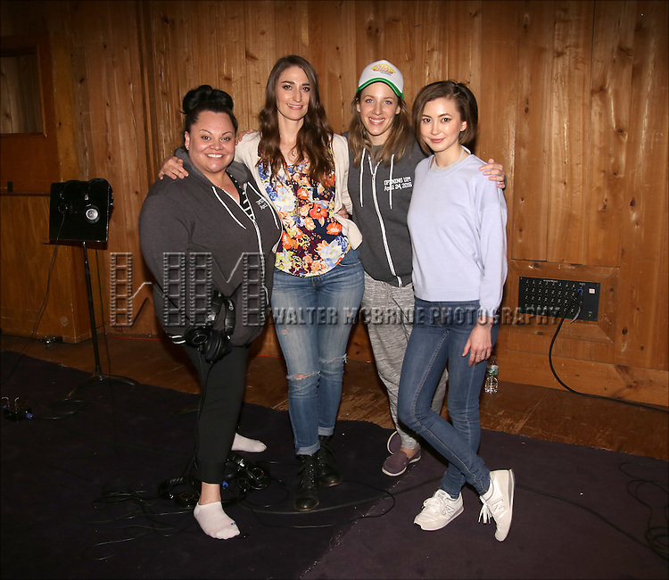 Keala Settle, Sara Bareilles, Jessie Mueller and Kimiko Glenn attends the 'Waitress' Broadway cast recording at MSR Studios on May 2,, 2016 in New York City.