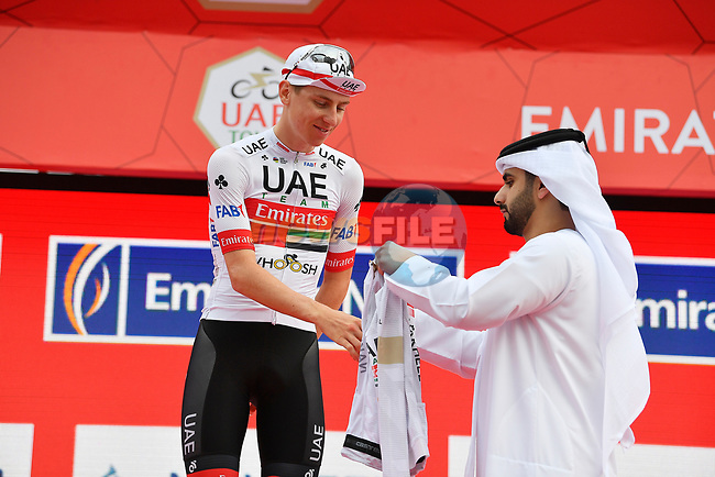 Tadej Pogacar (SLO) UAE Team Emirates retains the White Jersey at the end of Stage 4 the Emirates NBD Stage of the UAE Tour 2020 running 173km from Dubai Zabeel Park to Dubai City Walk, Dubai. 26th February 2020.<br /> Picture: LaPresse/Fabio Ferrari | Cyclefile<br /> <br /> All photos usage must carry mandatory copyright credit (© Cyclefile | LaPresse/Fabio Ferrari)