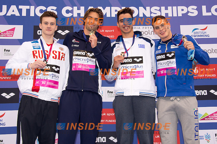 100 backstroke men<br /> from left 	TARASEVICH Grigory RUS, LACOURT Camille FRA, CHRISTOU Apostolos GRE, SABBIONI Simone ITA<br /> London, Queen Elizabeth II Olympic Park Pool <br /> LEN 2016 European Aquatics Elite Championships <br /> Swimming day 02 finals<br /> Day 09 17-05-2016<br /> Photo Giorgio Scala/Deepbluemedia/Insidefoto