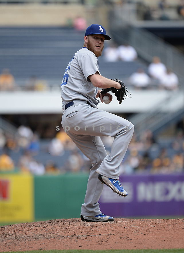 Los Angeles Dodgers JP Howell (56) during a game against the Pittsburgh Pirates on June 27, 2016 at PNC Park in Pittsburgh, PA. The Dodgers beat the Pirates 4-3.