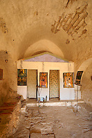 Greek Orthodox church interior Paliachora,   Aegina, Greek Saronic Islands