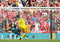 Goalkeeper Thibaut Courtois of Chelsea shoots his penalty over the bar. During the FA Community Shield match between Arsenal v Chelsea, Wembley stadium, London on 6th August 2017