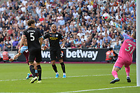 Javier Hernandez of West Ham United shot is saved by Ederson during West Ham United vs Manchester City, Premier League Football at The London Stadium on 10th August 2019