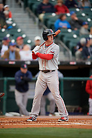 Pawtucket Red Sox third baseman Matt Dominguez (3) bats during a game against the Buffalo Bisons on May 19, 2017 at Coca-Cola Field in Buffalo, New York.  Buffalo defeated Pawtucket 7-5 in thirteen innings.  (Mike Janes/Four Seam Images)