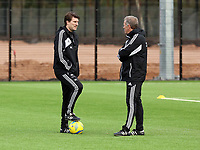 Tuesday 15 January 2013<br /> Pictured L-R: Manager Michael Laudrup with Alan Curtis <br /> Re: Swansea City FC training near the Liberty Stadium ahead of their Cup game against Arsenal at the Emirates Stadium.
