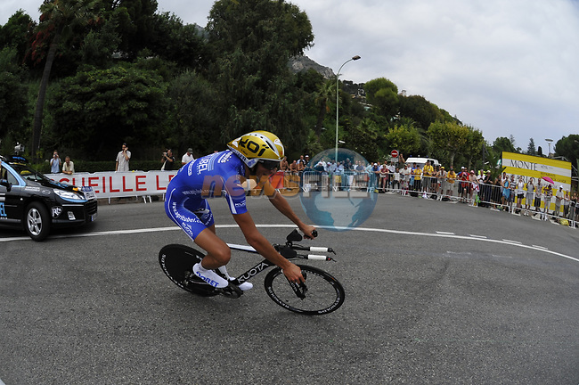 Agritubel team rider Brice Feillu (FRA) rounds the hairpin during the 1st stage prologue of the 2009 Tour de France in Monaco, 4th July 2009 (Photo by Eoin Clarke/NEWSFILE)