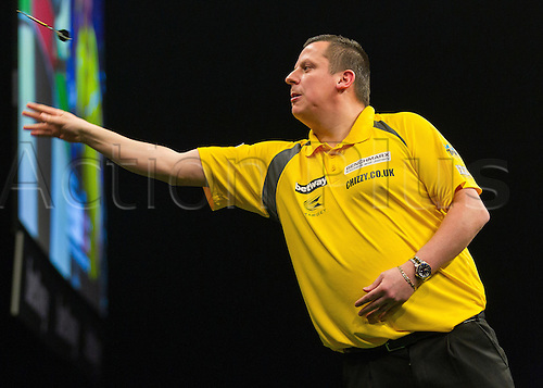 31.03.2016. The Motorpoint Arena, Cardiff.  Betway PDC Premier League Darts Judgement Night. Dave Chisnall in action versus Steve Wright