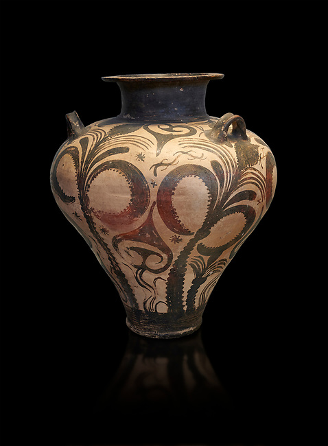 Three handled Palace Style  Mycenaean amphora with palm tree floral motifs, Mycenaean cemetery, Argive Deiras, 15 cnt BC, National Archaeological Museum Athens. Cat no 7107.  Black Background<br /> <br /> This Mycenaean vase is distinguished by the high quality of clay and paint as well as the naturalistic rendition of the palm tree decorations