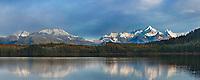 Misty morning fog over Mount Gilbert, Chugach mountains, Chugach National Forest, Ester Passage, Prince William Sound, southcentral, Alaska.