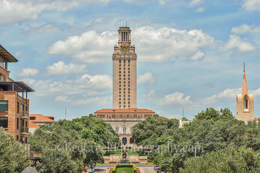 This is another image of the UT Tower in Austin Texas which stand at 307 ft and has become a iconic image located at the center of campus. The tower was orginally built to be a library but eventually became an administration building when it was found to be ineffient. The observation deck on the tower was the site of a mass shooting when Charles Whitman in 1966 blocked the door and started shooting people until he was killed by Austin police. The tower has been reopen but more safety feature are now in place.