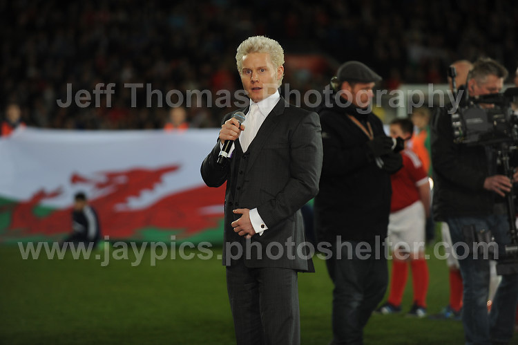 Rhydian sings the Welsh National anthem. Cardiff City Stadium, Cardiff, Wales, Wednesday 5th March 2014. The Football Association of Wales - Vauxhall International Friendly - Wales v Iceland. Pictures by Jeff Thomas Photography - www.jaypics.photoshelter.com - Contact: thomastwotimes@live.co.uk - 07837 386244