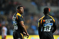 Charles Piutau of Wasps looks on during a break in play. Aviva Premiership match, between Wasps and Gloucester Rugby on November 8, 2015 at the Ricoh Arena in Coventry, England. Photo by: Patrick Khachfe / Onside Images