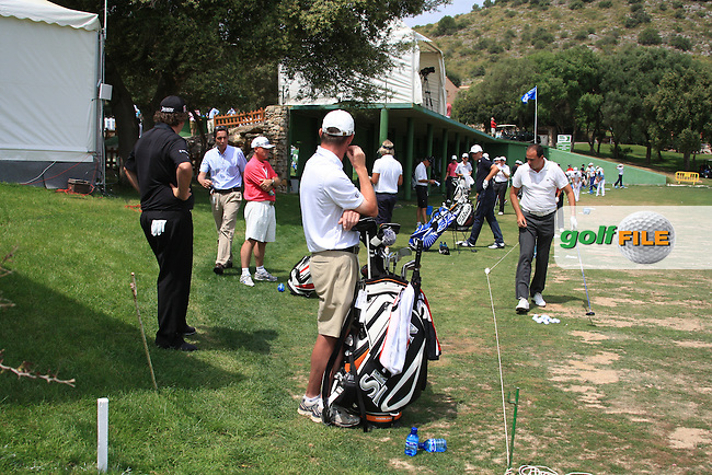 Shane Lowry had a narrow escape after one of his fellow players said he was on the driving range practising in an out of bounds area with is DQ. Lowry had to call for a Tour official for a ruleing before the start of his second round on day two of the Iberdrola Open from Pula Golf Club ,Son Servera, Mallorca, Spain 13/5/11.Picture Fran Caffrey/www.golffile.ie