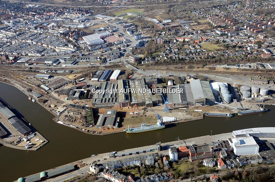 Luebeck Hafen: EUROPA, DEUTSCHLAND, LUEBECK (EUROPE, GERMANY), 25.02.2012 rund um die Einsiedelstrasse im Luebecker Hafen, Luftaufnahme, Luftbild, Luftansicht,.