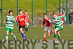Killarney Celtic's Mark Donnellan on the ball with Iveragh United's Jack O'Mahony giving chase in the Killarney Plaza U15 Div 1 meeting in Cahersiveen on Saturday.  Iveragh Utd 1 Killarney Celtic 6