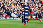 Stuart Hogg of Scotland dives under the posts to score the first try - RBS 6Nations 2015 - Scotland  vs Wales - BT Murrayfield Stadium - Edinburgh - Scotland - 15th February 2015 - Picture Simon Bellis/Sportimage