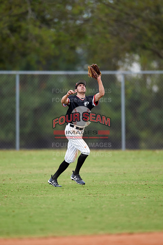 Edgewood College Eagles Bryan Sternig (1) catches a fly ball during the first game of a doubleheader against Western Connecticut Colonials on March 13, 2017 at the Lee County Player Development Complex in Fort Myers, Florida.  Edgewood defeated Western Connecticut 3-0.  (Mike Janes/Four Seam Images)