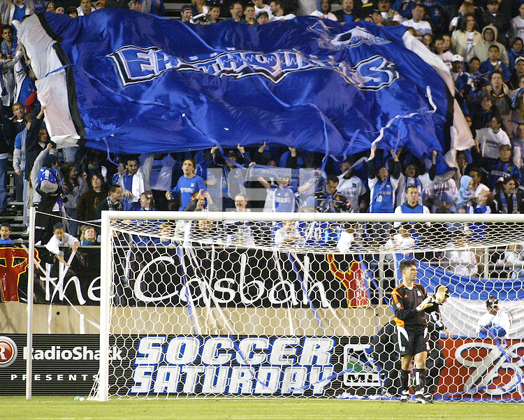 """With San Jose goalkeeper Pat Onstand in the foreground, Earthquakes' fan in the """"Casbah"""" celebrate a San Jose goal during a 2005 MLS match between the San Jose Earthquakes and New England Revolution on April 2, 2005 at Spartan Stadium in San Jose, California.  The match ended in a 2-2 tie."""