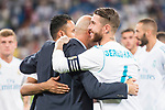 Real Madrid's Keylor Navas, Zinedine Zidane and Sergio Ramos during XXXVIII Santiago Bernabeu Trophy at Santiago Bernabeu Stadium in Madrid, Spain August 23, 2017. (ALTERPHOTOS/Borja B.Hojas)