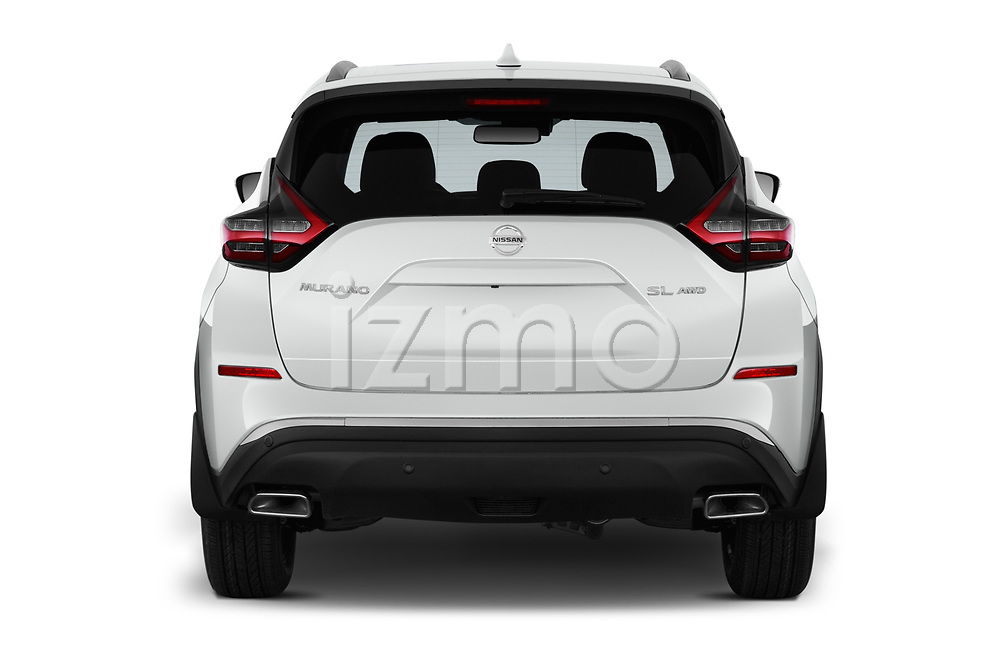 Straight rear view of 2019 Nissan Murano SL 5 Door SUV Rear View  stock images