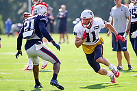 August 1, 2017: New England Patriots cornerback Malcolm Butler (21) covers wide receiver Julian Edelman (11) at the New England Patriots training camp held at Gillette Stadium, in Foxborough, Massachusetts. Eric Canha/CSM