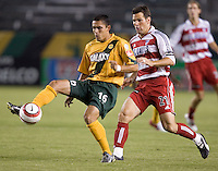 Herculez Gomez traps the ball in front of Greg Vanney at the US Open Cup at the Home Depot Center, in Carson, Calif., Wednesday, September 28, 2005.