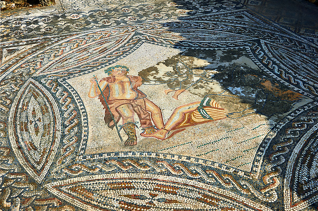 Roman Mosaics of Bacchus encountering the sleeping Ariadne from the House of the Ephebe.  Volubilis Archaeological Site, near Meknes, Morocco