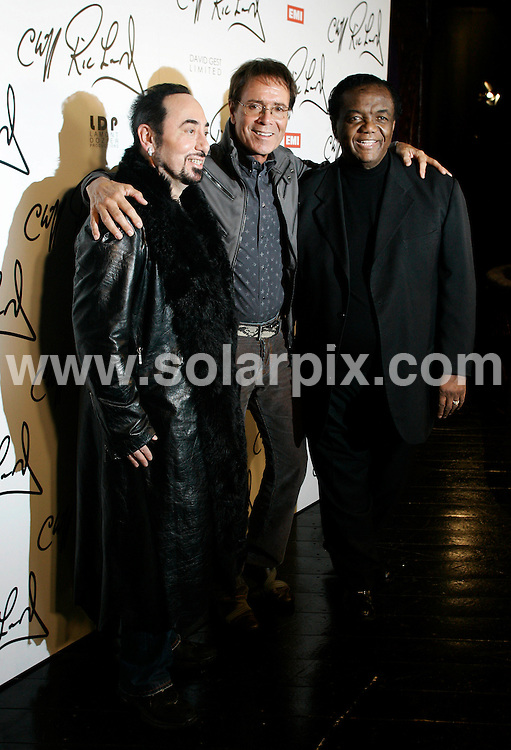 **ALL ROUND PICTURES FROM SOLARPIX.COM**                                             **WORLDWIDE SYNDICATION RIGHTS**                                                                                  Caption: Press Conference at Gilgamesh Restaurant in Camden Town  in London UK                                                                          This pic: Lamont Dozi, Sir Cliff Richard and David Guest                                                                                        JOB REF:12929        LNJ       DATE:07.03.2011                                                            **MUST CREDIT SOLARPIX.COM OR DOUBLE FEE WILL BE CHARGED**                                                                      **MUST AGREE FEE BEFORE ONLINE USAGE**                               **CALL US ON: +34 952 811 768 or LOW RATE FROM UK 0844 617 7637**