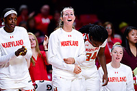 College Park, MD - NOV 29, 2017: Maryland Terrapins bench is fired up after a three point play during ACC/Big Ten Challenge game between Gerogia Tech and the No. 7 ranked Maryland Terrapins. Maryland defeated The Yellow Jackets 67-54 at the XFINITY Center in College Park, MD.  (Photo by Phil Peters/Media Images International)