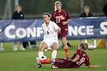 05 November 2008: Virginia Tech's Brittany Michaels (2) tackles the ball away from Florida State's Erika Sutton (6). Virginia Tech and Florida State University played to a 0-0 tie after two overtimes at Koka Booth Stadium at WakeMed Soccer Park in Cary, NC in a women's ACC tournament quarterfinal game.  Virginia Tech advanced to the semifinal round in penalty kicks, 4-2.