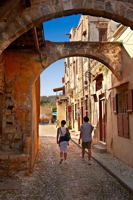 Narrow medieval lanes of Rhodes, Greece. UNESCO World Heritage Site