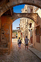 Narrow medieval lanes of Rhodes, Greece. UNESCO World Heritage Site