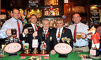 London, England. Martin Bayfield, Lewis Moody, British & Irish Lions 2013 Head Coach Warren Gatland, Andy Irvine and Phil Vickery at the launch of the Thomas Pink British & Irish Lions Collection as the new Official Outfitters for the iconic rugby team at  The Pink Lion, London, England on October 30. 2012.