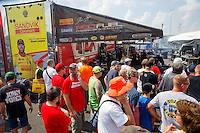 Sep 24, 2016; Madison, IL, USA; Fans surround the pit area of NHRA top fuel driver Shawn Langdon during qualifying for the Midwest Nationals at Gateway Motorsports Park. Mandatory Credit: Mark J. Rebilas-USA TODAY Sports