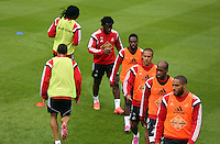 Pictured clockwise from FRONT LFT: Jefferson Montero, Bafetimbi Gomis, Wilfried Bony, Nathan Dyer, Wayne Routledge and Ashley Williams. Thursday 14 August 2014<br /> Re: Swansea City FC training at Fairwood, south Wales, ahead of their first game of the Premier League season against Manchester United this coming Saturday.