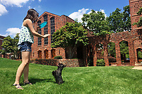Emily Necaise, a senior microbiology major from Pass Christian, takes advantage of a sunny summer day on the MSU campus by playing frisbee with her dog, Aries, in front of the Chapel of Memories. Although rain is expected on Friday [May 12], weather forecasts show students will have opportunities to enjoy the sunshine at MSU on Saturday and Sunday. <br />