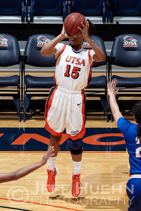 SAN ANTONIO, TX - MARCH 7, 2013: The San Jose State University Spartans versus the University of Texas at San Antonio Roadrunners Women's Basketball at the UTSA Convocation Center. (Photo by Jeff Huehn)