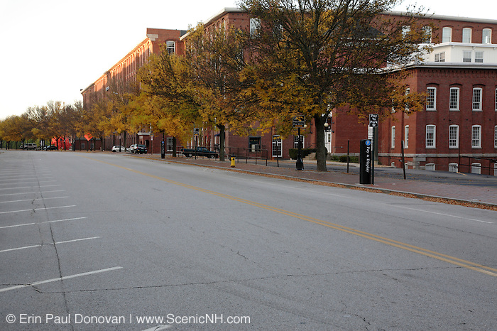Commercial Street during the autumn months in Manchester, New Hampshire USA..