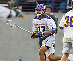 Jakob Patterson (#17) attacks as UAlbany Men's Lacrosse defeats Richmond 18-9 on May 12 at Casey Stadium in the NCAA tournament first round.