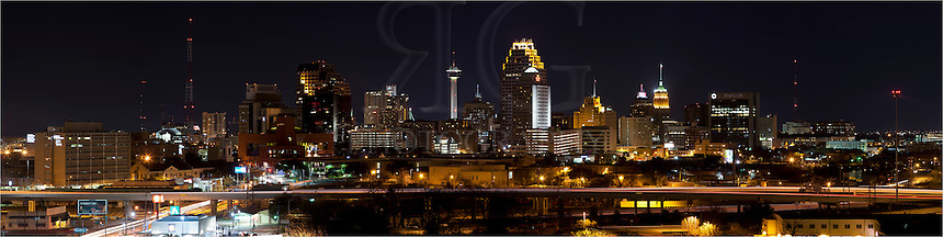 The San Antonio Skyline lights up at night.